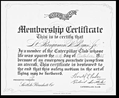 Caterpillar Club Certificate